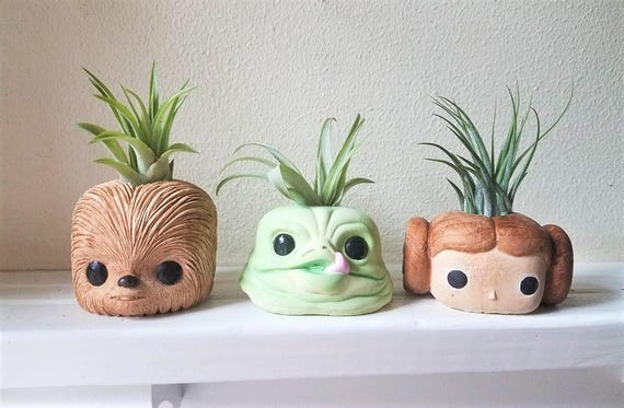 Star Wars gift, star wars wedding, Chewbacca gift, set of planters, Princess Leia, air plant holders, Jabba the Hut, geeky gift