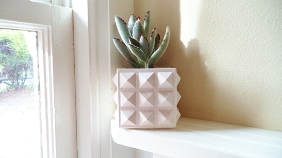 Studded square planter, punk rock succulent planter, geometric desk planter, cactus pot, modern home decor, office decor