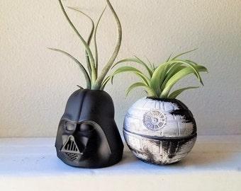 Star Wars inspired planter gift set, Darth Vader air plant holder, death star desk planter, geek chic, nerdy gift