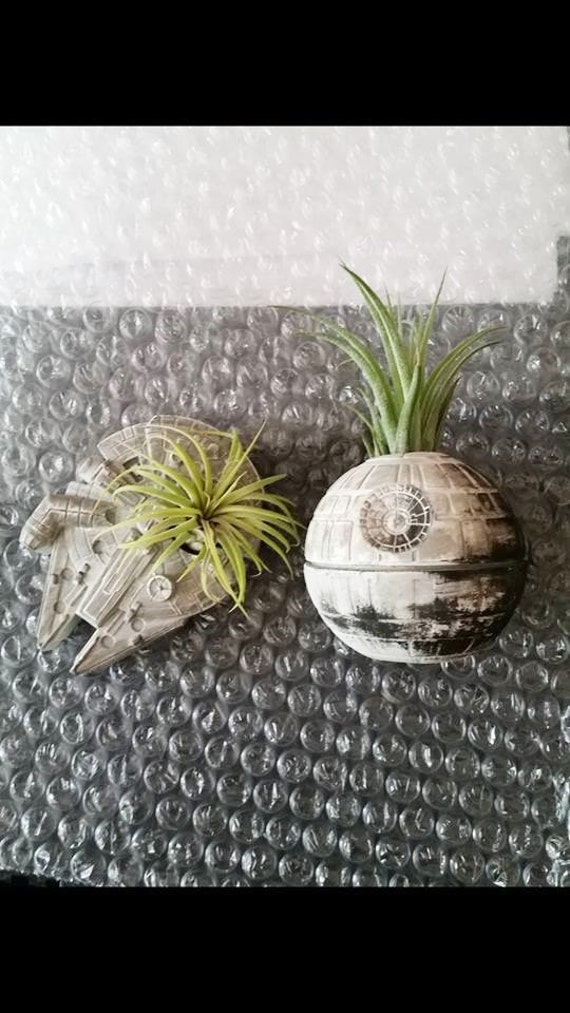 Death Star inspired planter gift set, air plant holder, desk planter, Millennium Falcon wedding gift, Star Wars geekery, nerdy gift