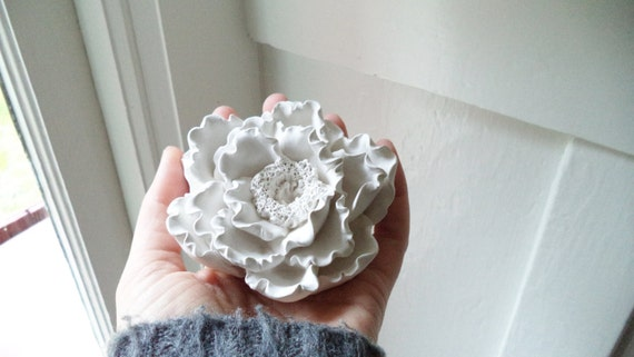 Peony, flower ring dish, bridal party gifts, minimalist white flower wall sculpture
