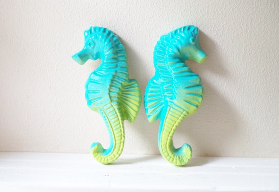 Seahorse wall hanging sculptures, tropical wall art, under the sea, beach house art, beach wedding gift, Tiki room decor, nautical art, aqua