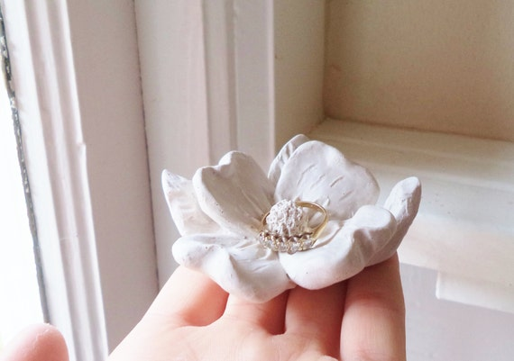 Flower wedding ring dish, Dogwood flower blossom, bridal party gifts