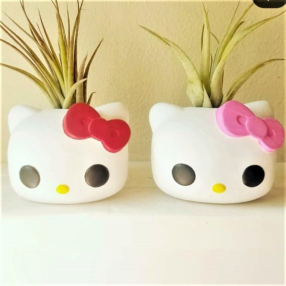 Kitty planter, air plant holder, small desk plant, 80s kid, 80s toys, 1980s, red bow, gift for her