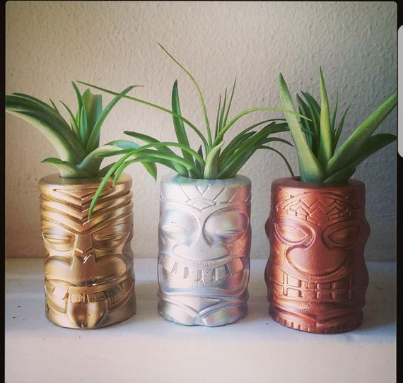 Tiki totem mini air plant holders, beach wedding party gifts, Tiki room gift, Polynesian, beach wedding gift, beach wedding favors, Hawaii