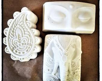 India inspired set of mini wall plaques, boho home accent, elephant, paisley, Buddha, spiritual gift