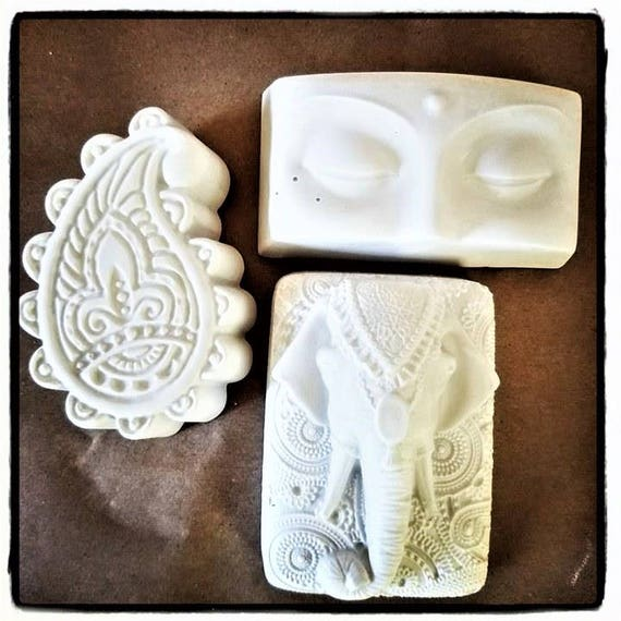 India inspired set of mini wall plaques, boho home accent, elephant, paisley, Buddha, spiritual gift
