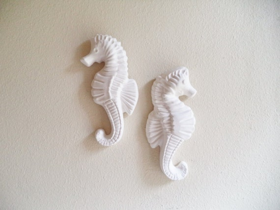 Seahorse wall decor, beachy decor, nautical art, seahorse sculptures