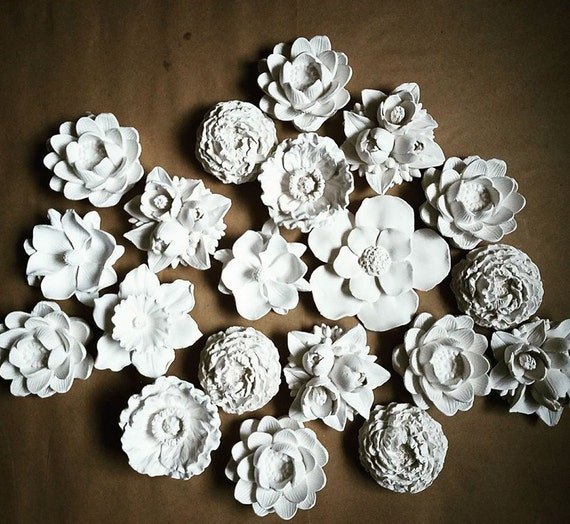 Wall flower sculptures, floral wall decor, garden nursery decor, Gardenia, Magnolia, Lotus, Dahlia, Peony, Dogwood