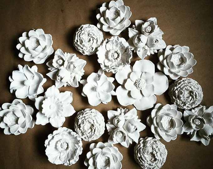 Featured listing image: Wall hanging flower sculptures, Spring flower sculpture collection, set of 3d wall hanging flowers, modern flower cluster