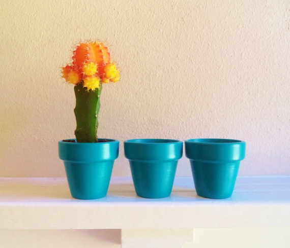 Teal planters, set of 3 mini planter pots, aqua blue green cactus planters, succulent wedding favors
