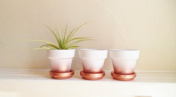 Wedding favors, copper 2 inch mini planters, rose gold ombre metallic succulent pots, cactus pots