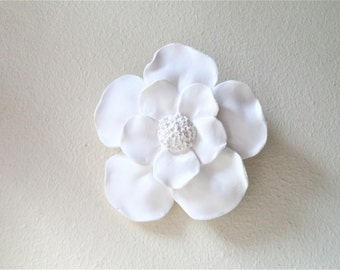 Magnolia flower wall sculpture, clustered wall flower sculptures, white modern minimalist floral decor