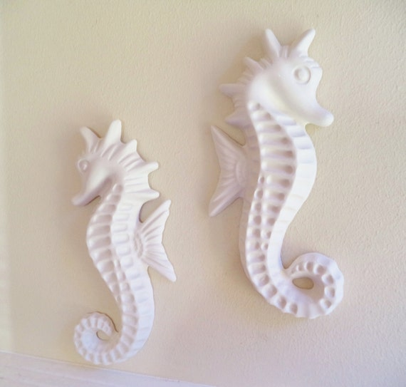 Seahorse wall decor, beach house decor from Grace and Frankie, nautical art, seahorse sculptures, large pair of seahorses