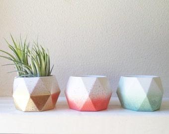 Geometric mini planters, geometric candle holders, tea light candle holders, votive candle holders, ombre