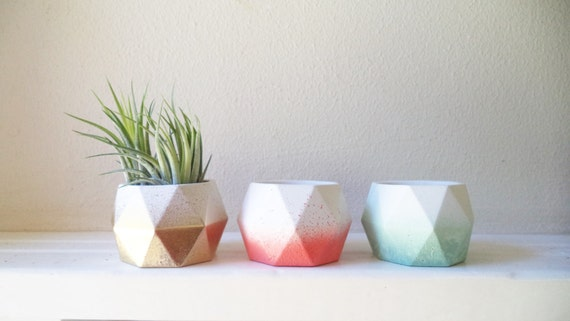 Geometric faceted vessel, geometric candle holders, tea light candle holders, votive candle holders, ombre