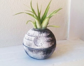 Death Star planter with plant, star wars gift, air plant holder, geek chic, small desk planter, nerdy gift, stocking stuffer