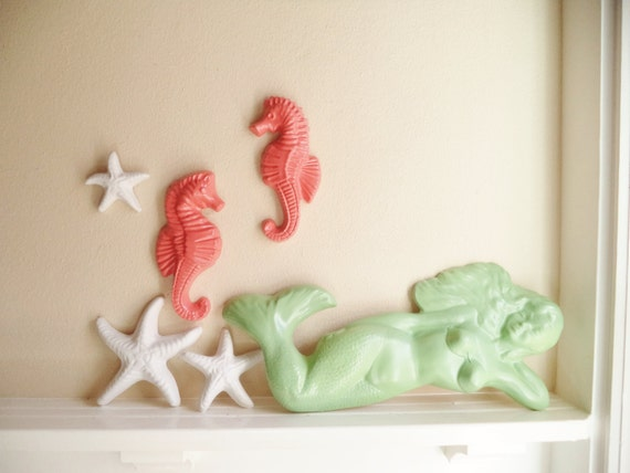 Nautical wall hanging sculptures, mermaid statue, seahorses, decor, starfish wall hanging sculptures, ocean themed decor, ocean nursery