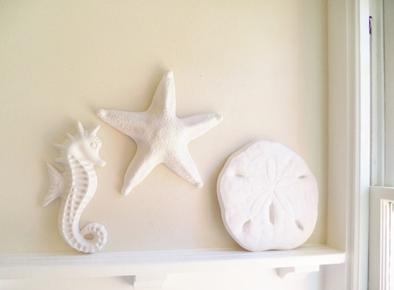 Nautical wall decor, trio of wall hanging sculptures, sea shell beach decor, Starfish, seahorse,sand dollar