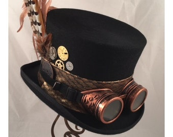 7c4d46b16546ce STEAMPUNK TOP HATS, Steampunk Shop, Black Top Hats, Copper Goggles, Rust  Feathers. Clock Parts