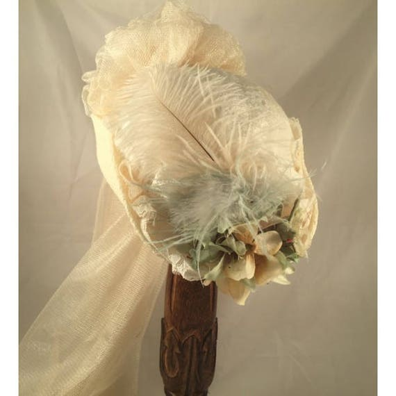 Victorian Hat History | Bonnets, Hats, Caps 1830-1890s Victorian Hats Southern Belle Hats French Hats Ivory Sea Foam Green Ostrich SASS Reenactment $91.00 AT vintagedancer.com
