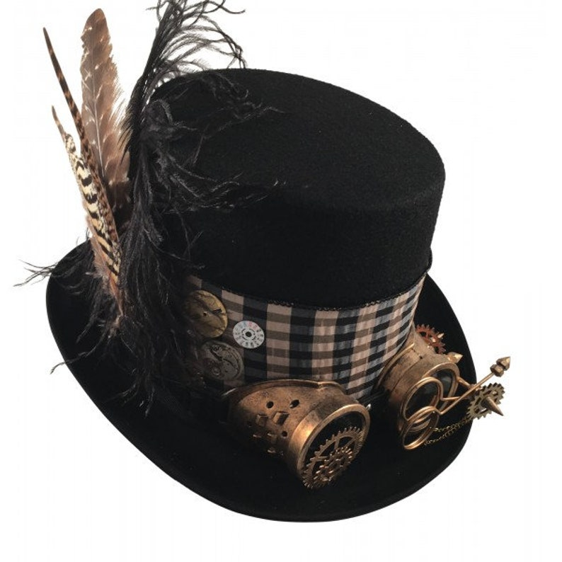 Favoriete STEAMPUNK TOP HATS Steampunk Shop Black Top Hat Goggles | Etsy &WB66