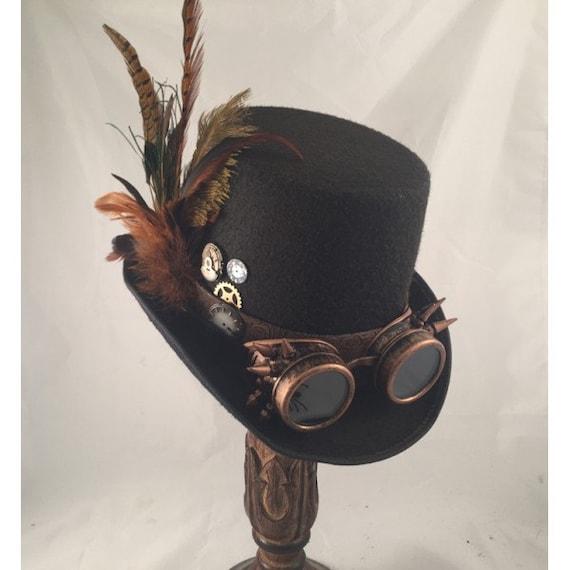 Voorkeur STEAMPUNK TOP HATS Steampunk Shop Black Top Hat Brown | Etsy &XI08