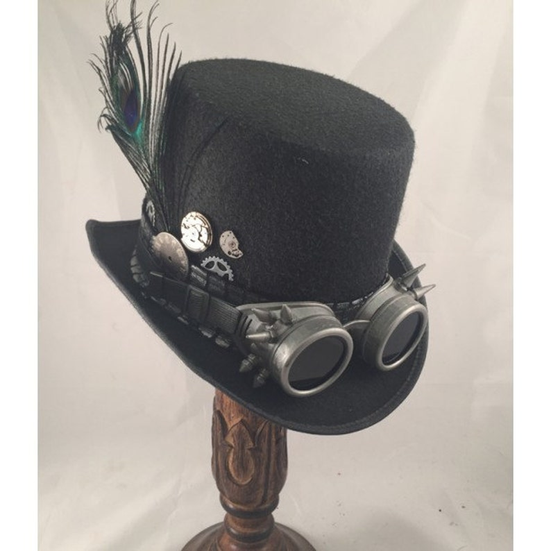 Steampunk English Style Bowler Hat with Feather an Band in Black Brown