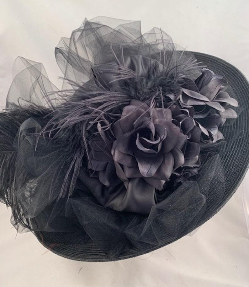 Victorian Hat History   Bonnets, Hats, Caps 1830-1890s     Edwardian Hat Wide Brim Hat Victorian Hat Tea Party Hat Southern Bell Hat Kentucky Derby Hat BlackTulle Feathers Flowers $109.00 AT vintagedancer.com