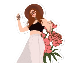 Rose Colored Glasses Illustration Bubble-free Stickers