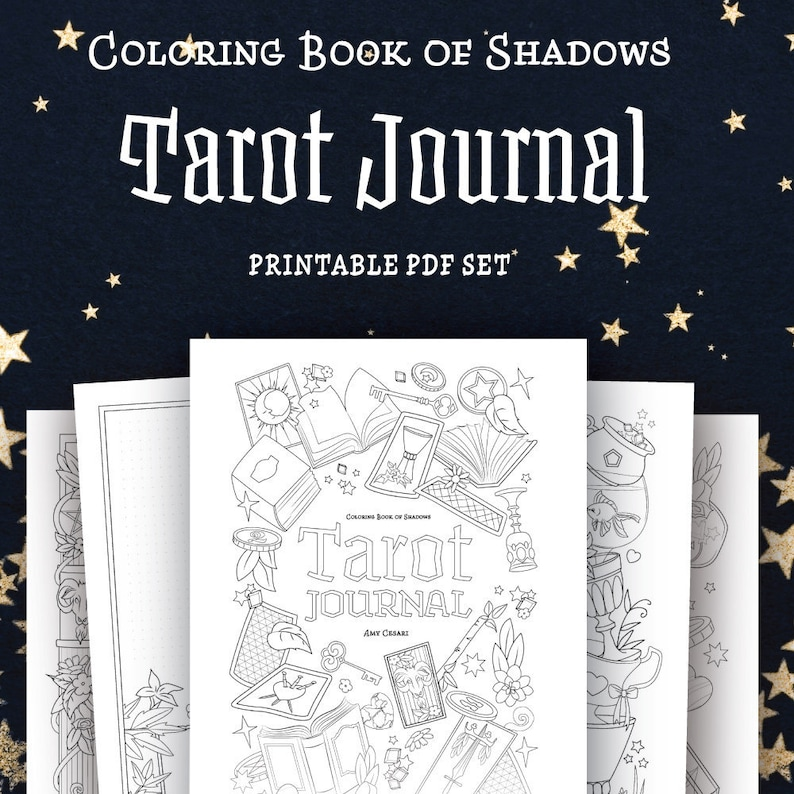 image regarding Free Printable Tarot Journal named Coloring E-book of Shadows: Tarot Magazine