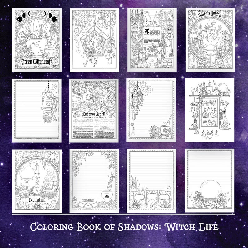 Coloring Book of Shadows: Witch Life | Etsy