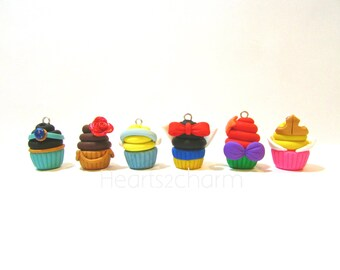 Disney Princess Inspired Cupcake Charms. Handmade Polymer Clay Cupcake Charm. Use as Pendant, Charm Bracelet, Earrings. Princess Cupcake