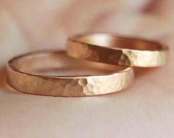 3 mm gold wedding bands, Hammered wedding rings, 14 kt gold wedding rings set, Handmade wedding rings, White gold wedding set