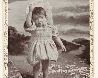 Little Bathing Beauty Photo Postcard, 1907