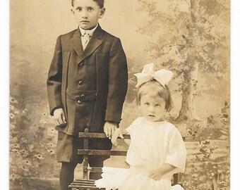 Park Bench Children Photo Postcard, c. 1910