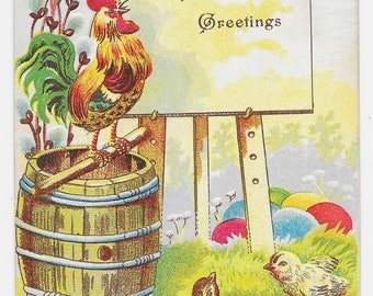 Proud Rooster Easter Postcard, 1909