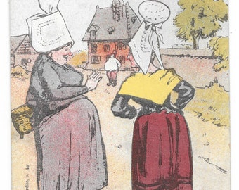 Artist-Signed Funny Normandy Ladies Postcard, c. 1910