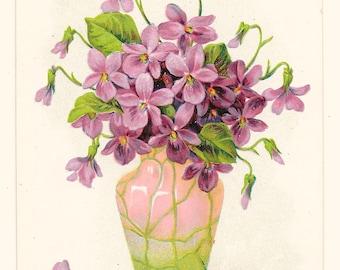 Vase of Violets Best Wishes Postcard, c. 1910