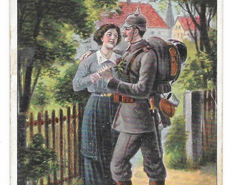 Happy Reunion Great War German Soldier Postcard, c. 1915