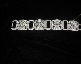 Beautiful Antique Art Deco Rhinestone Wedding Bracelet  1930's