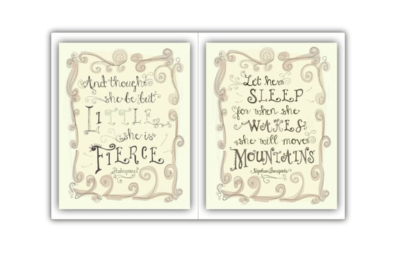 Pair Of Prints Quotes For Nursery Girls Room Decor Etsy