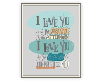 Skidamarink I Love You Print, song lyric print, toddler boy wall art, new baby gift, baby boy room decor, grey and orange nursery art, 8x10