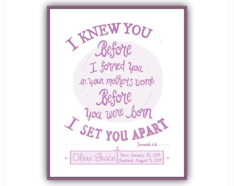 New Baby Girl Gift, Instant Download Personalized Baptism Gift, Girls Baby Christening Gift, Personalized Baby Bible Verse Jeremiah 1:5 art