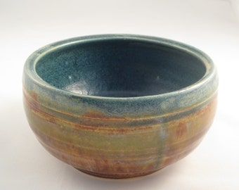 Medium Decorative Bowl - blue glass inside