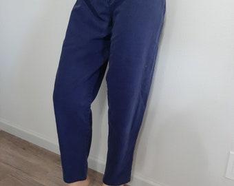 Vintage Dark Blue Star Pattern High-Waisted 80s 90s Pleated Dress Pants Paris Sport Club Size 10