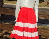 Mid Century Womens White Gunne Sax Style White Blouse Red White Polka Dot Square Dance Skirt Size S Country Dance Skirt Red Prairie Skirt