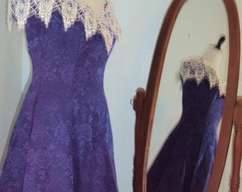 cdf6bd3a46 1990s Womens Eggplant Purple Acetate Cotton Off Shoulder  Prom Bridesmaid Party Mini Dress Size S Vtg Purple Prom Short Roberta Formal  S