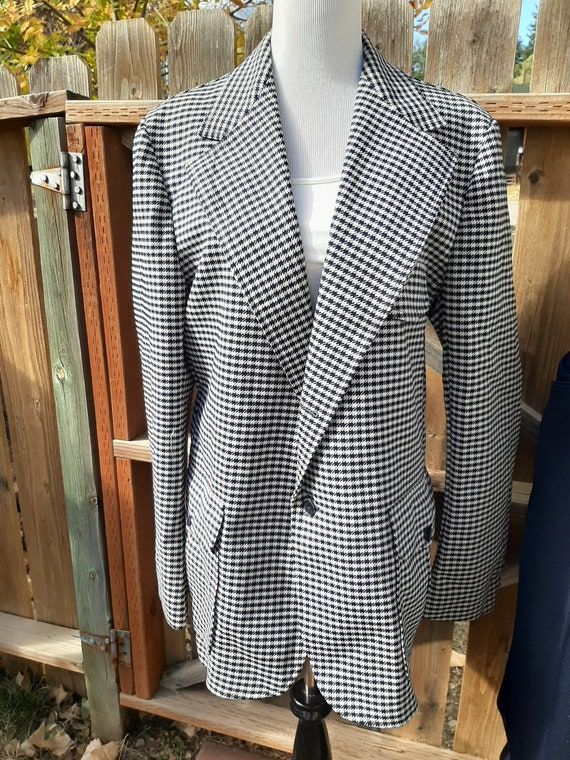 1970s Mens Navy/White Houndstooth Check H Bar C Ra