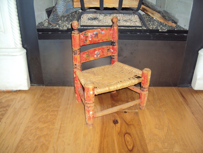 Antique Childsdoll Wooden Painted Cane Seat Chair Distressed Wood Chair Farmhouse Decor Wood Chair Primitive Decor 16 X 12 X 9